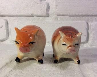 Vintage Pair of Hog/Pig Salt & Pepper Shakers, Made in Japan.