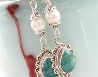 Natural Turquoise  Freshwater Pearl Earrings In Sterling Silver 541082