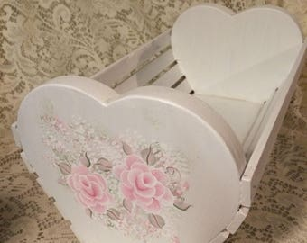 Shabby Cottage Chic Hand Painted  Victorian Pale Pink Rose Wooden Heart Basket