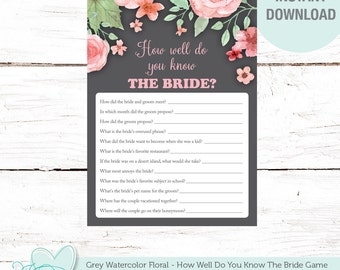 How Well Do You Know The Bride, Bridal Shower Game, Grey Watercolor Floral, Printable, Instant Download, Flowers, Rustic, Country, 006A
