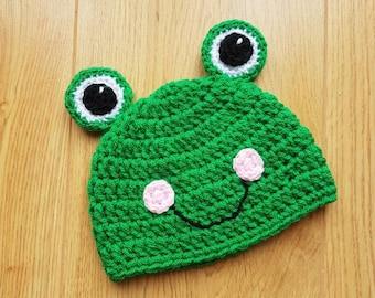 Frog Hat, Newborn Hat, 0-3 Months, Baby Shower Gift, Crocheted Hat, Photo Prop, Froggy, Beanie