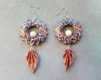 Origami Hoop Leaf Earrings Geometric Blue & Brown with Jade Gemstones, Origami Jewelry, Japanese Earrings, Kimono Geisha Earrings, Harajuku