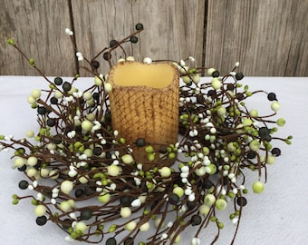 Pip Berry Wreath-Candle Ring-Primitive Wreath - Spring Wreath - Pip Berry Centerpiece - Mini Wreath - Summer Wreath - Free Shipping