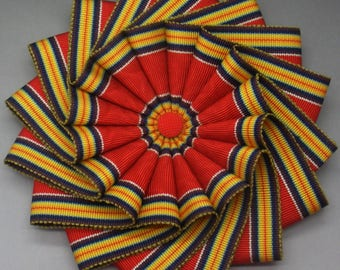 Red Blue Yellow and White Wheel Cocarde Cockade Applique Millinery Military Reenactment
