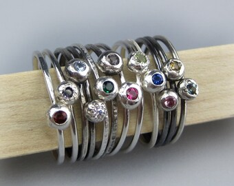 Sterling Silver Birthstone Ring | Stackable Birthstone Ring | Customizable Ring | Boho Birthstone Ring | Made to Order Birthstone Jewelry