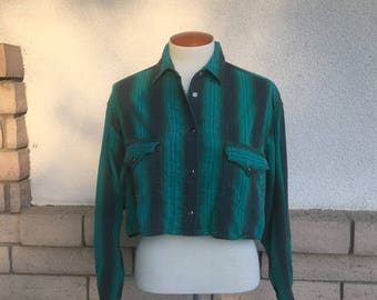 Cropped Western Shirt Green & Black Pearl Snap Striped Cowboy Shirt by Levi's Size M