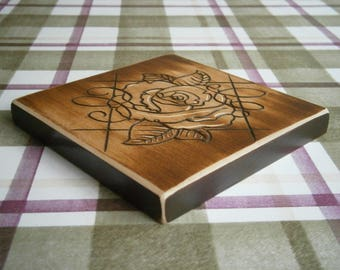 Large chunky Hand carved Coaster.