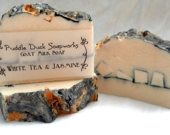 White Tea & Jasmine Goat Milk Soap - with Olive Oil, Coconut Oil, Shea Butter and Rice Bran Oil