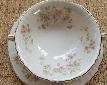 Syracuse China, Stansbury Pattern, Cream Soup Bowl and Matching Saucer.