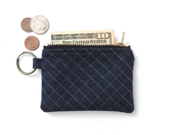 Keychain Coin Purse Slim Wallet Zipper Pouch Grid Denim