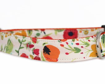 Flower Dog Collar - Lola Dog Collar - White Dog Collar - Floral Dog Collar - Rose dog collar - girl dog collar - red and orange dog collar