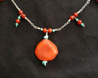 Turquoise and Carnelian Choker Necklace