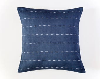 Linen Pillow Cover | Wide Horizontal Lines | Navy