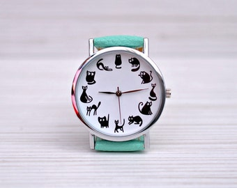 Cat watch. Gift for women. Cat lover gift. Cat jewelry. Women watch. Novelty gift. Graduation gift. Cat lady. Birthday gift. Funny pet gift