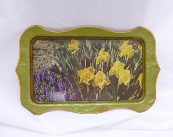 Decorative Vanity TrayArt Deco Tray with Daffodils,  Vintage Toiletries Tray,  Cottage Chic, Celluloid,
