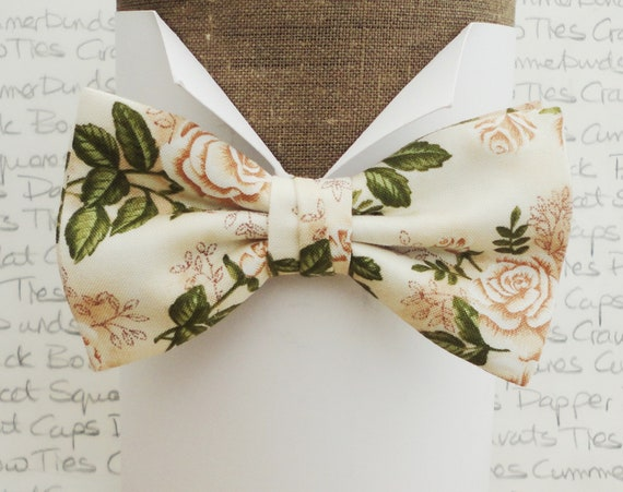 Bow ties, bow tie, roses bow tie, rose print bow tie, roses on an ivory background wedding bow tie
