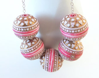 Ornate Vintage Beaded Necklace -- Large Pink and Gold Plastic Beads -- Sterling Silver Chain & Clasp -- UK Shop