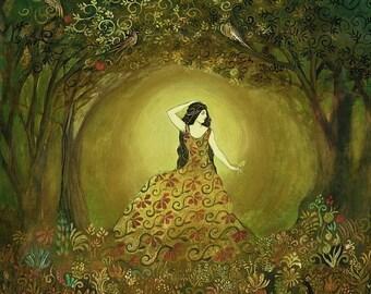 Summers Cauldron 8x10 Fine Art Giclée Print on Canvas Pagan Mythology Bohemian Art Nouveau Goddess Art