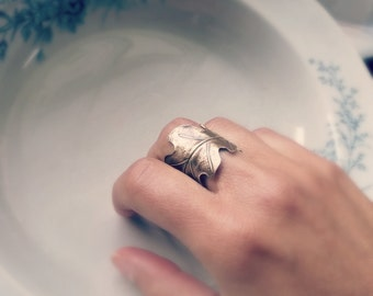 Leaf Ring/Brass Ring/Oak Leaf Ring/Bronze Ring