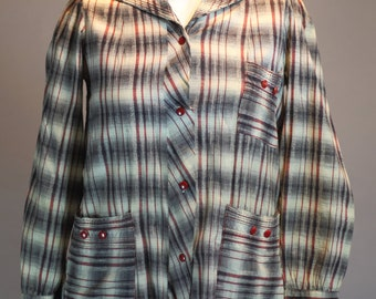 1950s cotton shadow plaid jacket, light weight, red & black, Rainbow Fashions, Med - Lg