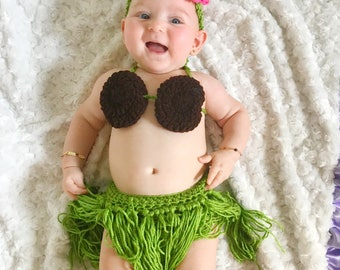 Four Piece Baby Hula Girl Costume  sc 1 st  Etsy : baby hula girl costume  - Germanpascual.Com