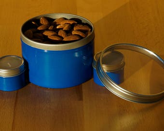 Blue tin metal gift box candle holder with clear lid custom color - SET OF 6 any combination of colors