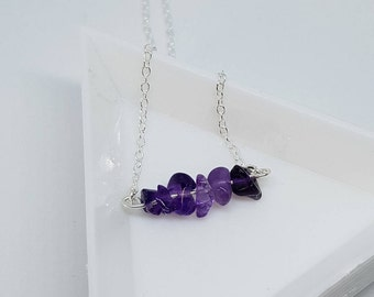 Amethyst Bar Necklace - February Birthstone - Silver Plated Necklace
