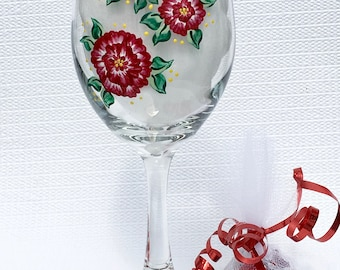 Wine Glass With Hand Painted Red Roses and Graduation Charm and Chocolate, Graduation Gift, Gifts For Grads, College Grad Gift