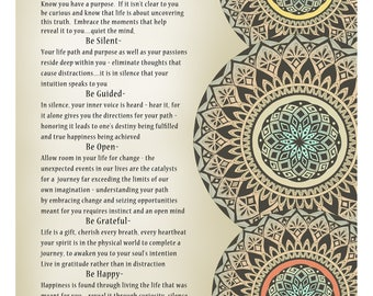 """Inspirational Mandala print - """"Dream it, Believe it, Live it"""" Find your passion and purpose"""