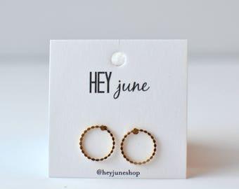 braided hoop earrings, braided circle stud earrings, gold braided circle earrings, braided open circle earrings, open circle studs