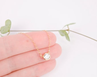 Gold Choker Necklace, CZ Necklace, Small Crystal Necklace, Dainty Crystal Choker Necklace