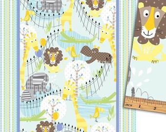 Fabric Panel, Zoo baby, baby animals fabric, zoo animals fabric, toddler baby fabric, baby fabric panel, by Kanvas Studio, 08536