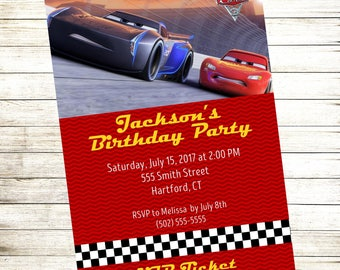 Cars 3 Movie Invitation | FREE Thank You Card File | Cars 3 Movie Ticket Invitation | New Cars Movie Invitation | Cars Birthday Party