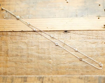 Silver CZ Chain Necklace/ minimalist Necklace