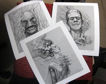 Classic Monsters Archival Print Set