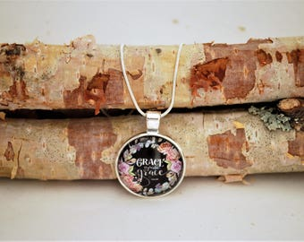 Grace upon Grace, Small Silver Pendant Necklace