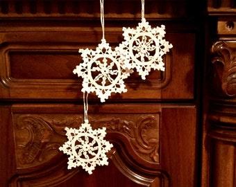 Crochet Christmas Ornaments White Crochet Snowflakes Christmas Decoration Christmas Star Doily Snowflake Christmas chaplet Wedding Decors