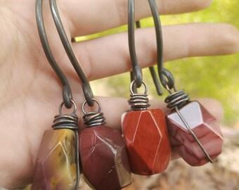 Mookaite & Copper Ear Hangers // Gemstone Copper Ear Weights // Rustic Gemstone 10g Copper Ear Hangers // Tribal Copper Ear Hangers