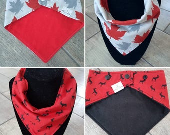 SALE -Handmade bandana drool bib - LIMITED EDITION Canada day - red moose or maple leaf pattern cotton with solid backing - baby accessories