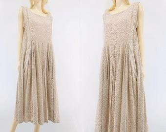 SALE 80s Floral Dress Babydoll Dress White Floral Dress Midi Dress Boho Floral Dress 80s Summer Dress Peasant Dress m
