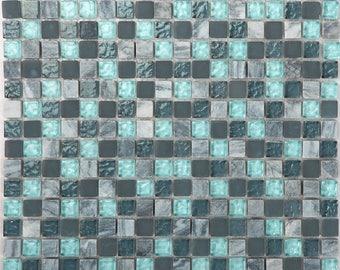 "Stone and Glass Mosaic Sheets Aqua Square Tile Natural Marble Tile Kitchen Backsplash Cheap Floor and Wall Tiles (6 PCS, 11.8""x11.8"" /each)"