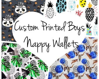 Custom Printed Boys Nappy Wallets and Travel Change Mats - Perfect Baby Shower Gift - Trendy Cute Fabrics Cowskull Deers