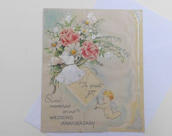 vintage 1940's Wedding Anniversary card with bells