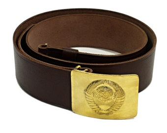 Soviet Military Officer Brown Leather Belt w/USSR SEAL Brass Buckle