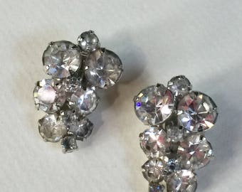 Vintage Rhinestone Clip on Earrings