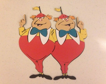 Tweedle Dee and Tweedle Dum die cut from Alice in Wonderland