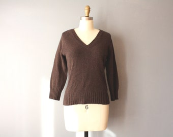vintage 90s wool sweater / elbow patches / v neck stretchy pullover / medium