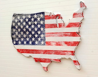USA Wooden Flag Map Art Large US Map Art Wooden Stars and Stripes Map