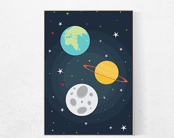 Space nursery decor, outer space nursery wall art, nursery set, kids room decor baby boy space themed nursery prints kid room playroom decor
