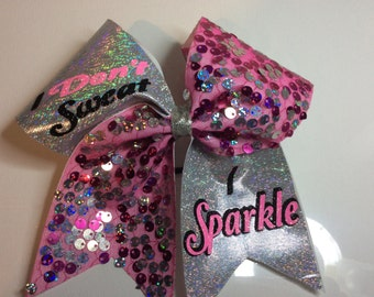 I dont' sweat I sparkle cheer bow
